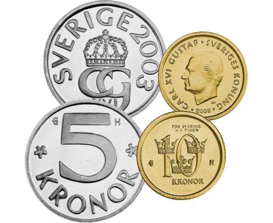 50 öre, 1, 5, 10 korona, , 0, 0, Svédország, 2001-2005
