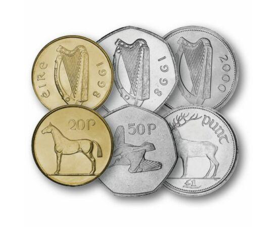 1, 2, 5, 10, 20, 50 pence, 1 font, , 0, 0, Írország, 1970-2000