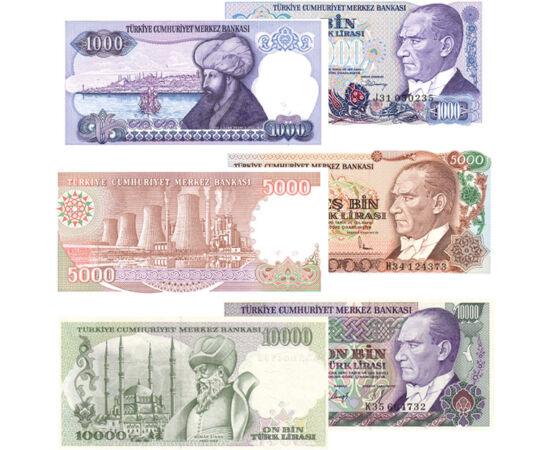 10, 100, 500, 1000, 5000, 10000 líra, , 0, 0, Törökország, 1982-1992