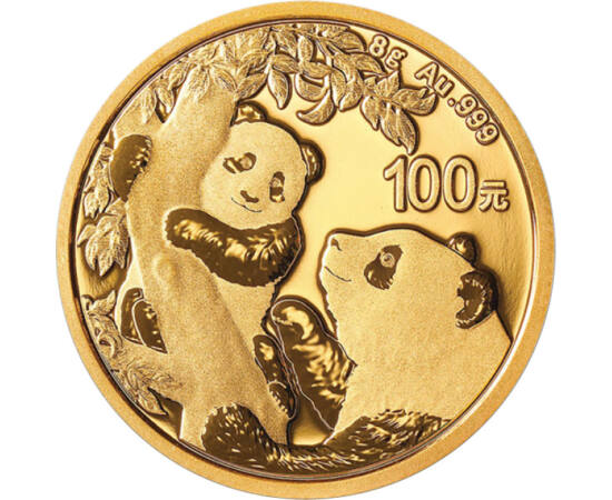 100 jüan, Pandák, , színsúly, Au 999, 8 g, Kína, 2021