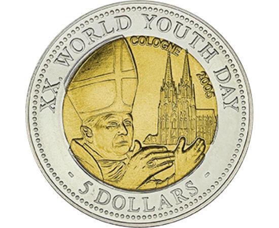 5 dollár, XVI. Benedek pápa, Kölni dóm, , CuNi, 6,4 g, Libéria, 2005