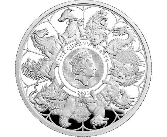 5 font, II. Erzsébet, fenevadak, színsúly, , Ag 9999, 62,2 g, Nagy-Britannia, 2021