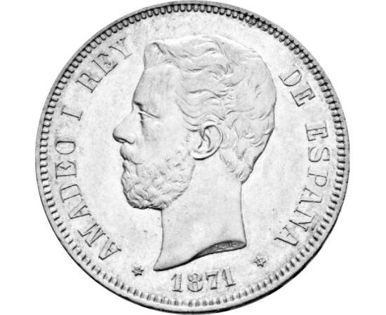 5 peseta, I. Amadé, , Ag 900, 25 g, Spanyolország, 1871