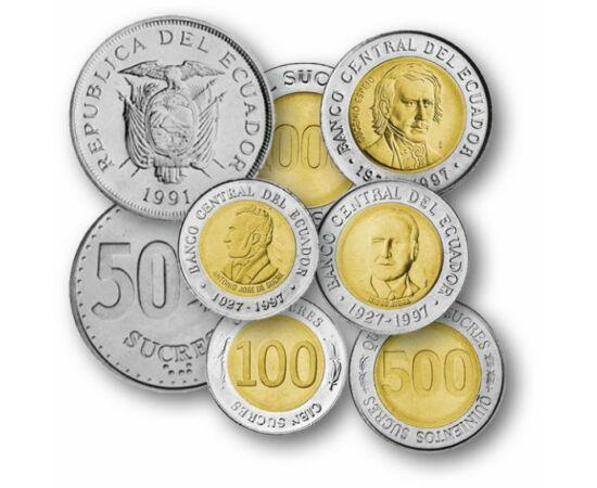 50 centavo, 1, 5, 10, 20, 50, 100, 500, 1000 sucre, , 0, 0, Equador, 1988-1997