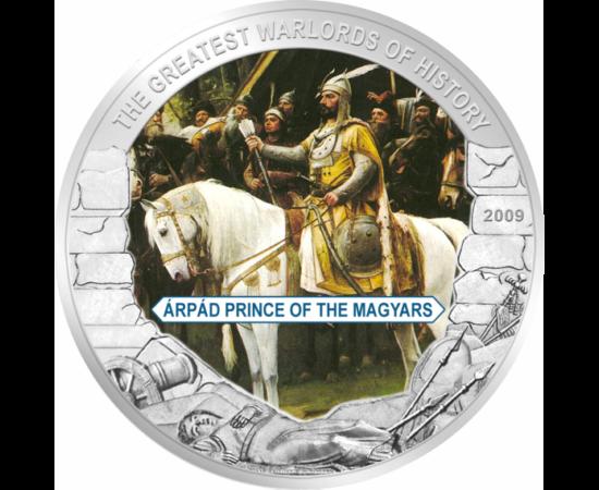 // 5 dollár, Libéria, 2009 // - A magyar törzsszövetség nagyfejedelme a honfoglalás idején, a magyar sereg vezére. Tőle származnak az Árpád-ház uralkodói, akik négy évszázadon át uralkodtak.