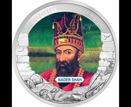 """// 1 dollár, Palau, 2016 // - Iráni síita hadvezér, később Perzsia sahja, az Afsárida-ház alapítója. Hódításaival kiérdemelte az utókortól a """"Perzsia Napóleonja"""" elnevezést. Birodalma a mai Iraktól Indiáig terjedt."""