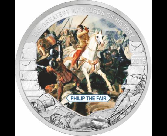 // 1 dollár, Palau, 2016 // - IV. Fülöp a francia Capeting-ház legjelentősebb uralkodója volt. A pápai államot francia földre költöztette, Avignonba, feloszlatta a Templomos lovagrendet, megszerezve hatalmas vagyonát.