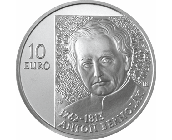 // 10 euró, Szlovákia, 2012 // - Anton Bernolák a szlovákirodalmi nyelv megalapítója, katolikus pap, nyelvész volt.A Nagyszombat környéki nyelvjárásokra alapozva kidolgozta a szlovák irodalmi nyelvet. Ennek köszönhető a szlovák nép irodalmi önállósága, a
