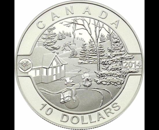 // 10 dollár, 999,9-es ezüst, Kanada, 2014 // - A kanadai verde emlékpénzén egy igazi hóesés utáni pillanatot örökít meg. A friss hó fehérsége, az ünnepek látható emlékei, a ház hivogatóan meleg látványa mind tökéletesen jelenik meg a vereten.