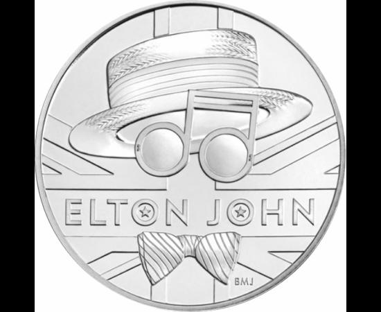 // 5 font, Elton John, CuNi, Nagy-Britannia, 2020 // Az emlékérmén Elton John jellegzetes szalmakalapja, hangjegyekből mintázott napszemüvege és csokornyakkendője látható. A kibocsátás elegáns díszcsomagolást kapott, melyen a zenész életútjáról és Rocket