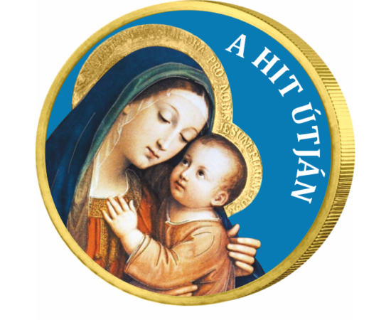// 50 cent, Európai Unió // - Szűz Mária Magyarok Nagyasszonya, színezett egyedi érme, újra kapható a kínálatunkban!