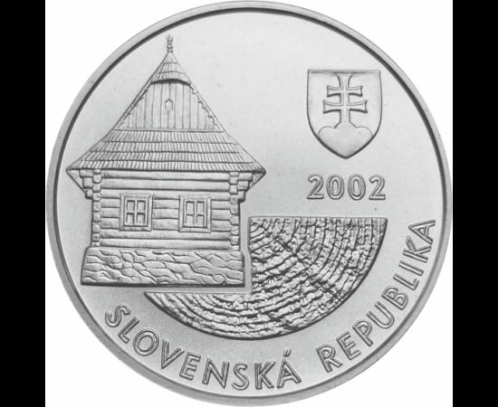 // 200 korona, 750-es ezüst, Szlovákia, 2002 // - Az UNESCO világörökség részét képező Vlkolínes fatemplomok 2002-ben egy gyönyörű ezüst érmén jelentek meg.