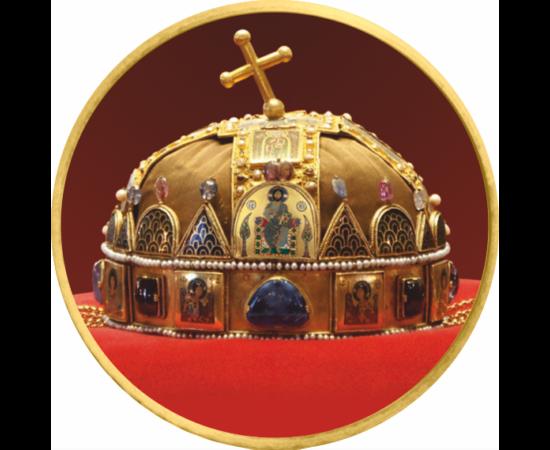 // 50 cent, Európai Unió, 2002-2019 // - Államalapító királyunk Szűz Máriának ajánlotta koronáját, ezzel országát a Szent Szűz oltalmába helyezte. A legendássá vált Szent Korona a magyar nép és az ország feletti hatalom szimbóluma lett.