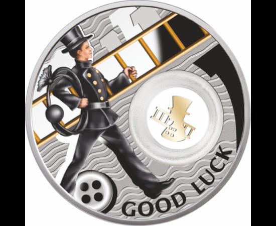 999-es ezüstpénz szerencsét hozó kéményseprő motívummal.