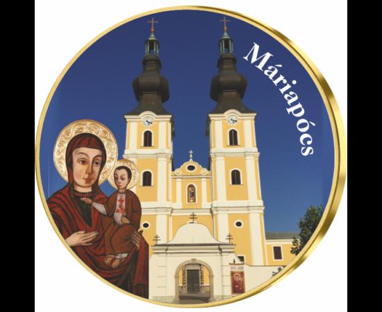 // színes emlékérem, Máriapócs emlékérem, , ,  // A legrégebbi és legismertebb csodatévő helyek a Mária-kegyhelyek. A történelmi Magyarország területén több ilyen hely található, ahol kápolnát és templomot emeltek, viszont a legnagyobb tisztelet azt a Már
