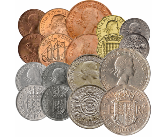 // 1 farthing, ½, 1, 3, 6 penny, 2x1, 2 shilling, ½ korona, Nagy-Britannia, 1953-1970 // - A brit forgalmi sor, II. Erzsébet koronázása után került forgalomba. Az érméket a fiatal királynő portréja, illetve a brit birodalom szimbólumai és címerei díszítik