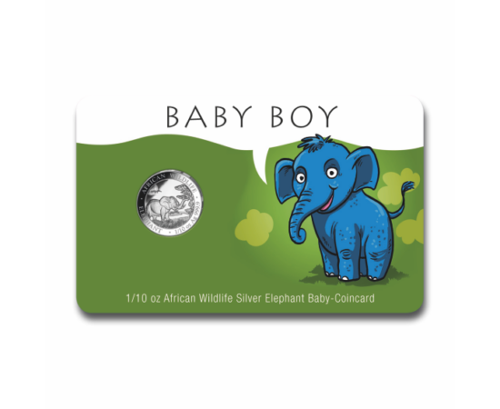 // 10 schilling, Kisfiú született - egyedi ajándék színezüstből!, 9999-es ezüst, Szomália, 2019 // Köszöntse az újszülött családtagot egy értékes ajándékkal! A klasszikus színezüst befektetői pénz perszonalizálható, exkluzív díszcsomagolást kapott. Töltse