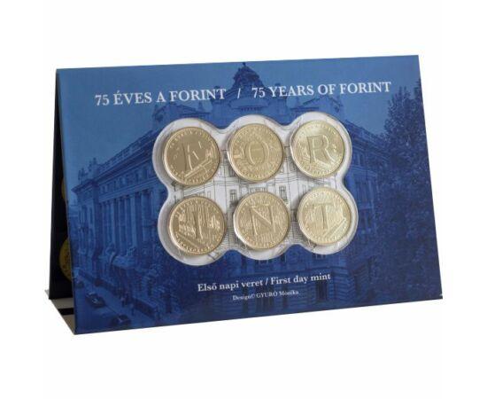 6x5 forint, 75 éves a forint, elsőnapi veret, verdefényes, Magyarország, 2021