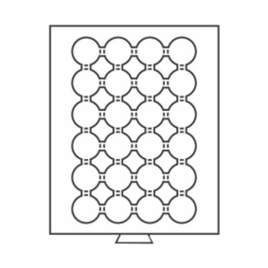 Érmetároló tálcák24 x Ø 34 mm – 10 DM, 100 peseta, 50 OES