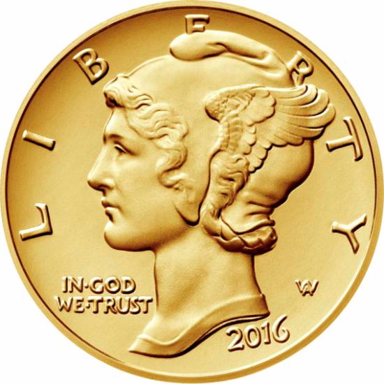 Mercury, 1 dime, 916-os arany, 2016, USA
