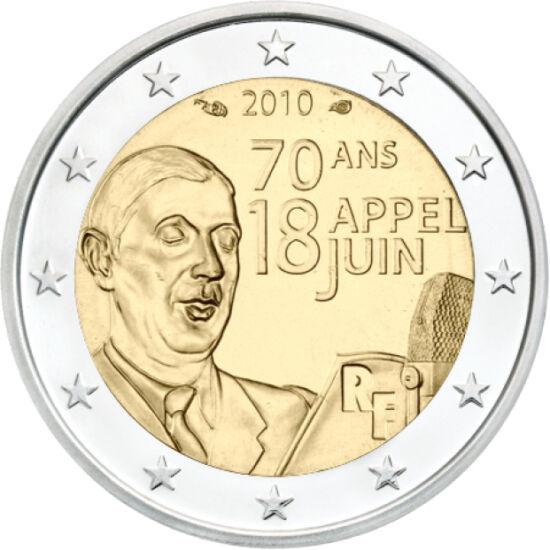 // 2 euró, Franciaország, 2010 // - 1940. június 18-án Charles de Gaulle tábornok rádióbeszédében a megszálló német erőkkel szembeni ellenállásra szólított fel minden franciát. A francia történelem leghíresebb beszédének 50. évfordulójára különleges 2 eur