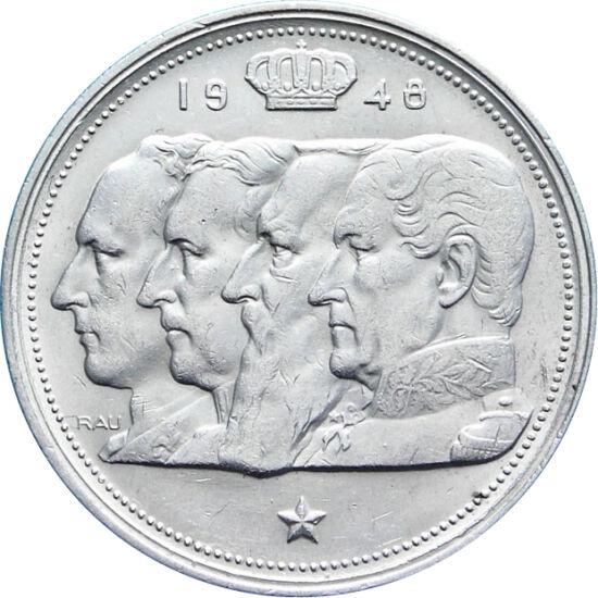 // 100 frank, 835-ös ezüst, Belgium, 1948-1954 // - Az érmén Belgium első királyai láthatók. Az utolsót, III. Lipótot népe a megszálló nácikkal való együttműködéssel vádolta. Sorsáról népszavazás döntött. Az érme azt hangsúlyozta, hogy a király a függetle