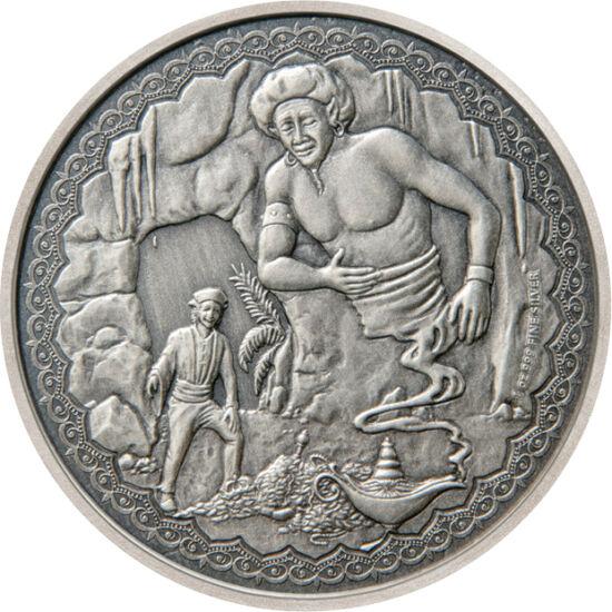 // 2 dollár, 999-es ezüst, Niue, 2019 // - Numizmatikai szakértőként ebben a hónapban egy meseszép érmét szeretnék figyelmébe ajánlani. Az Aladdin történetét megidéző, egy uncia színezüst érme, antikolt felülettel, és részletgazdag kidolgozásával mesés da