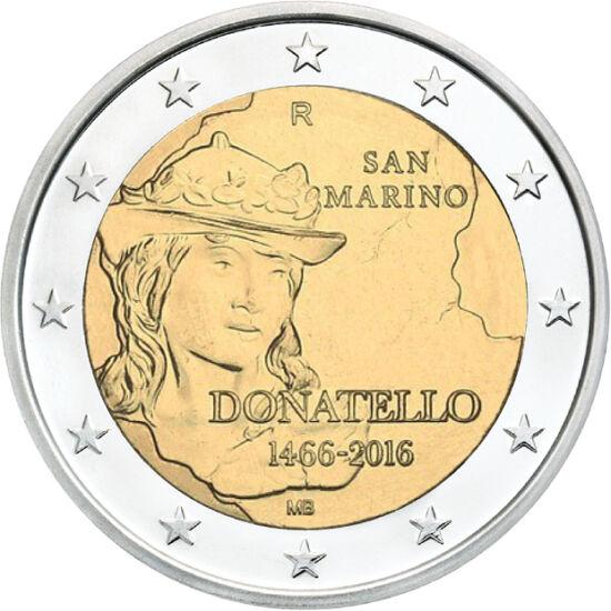 // 2 euró, San Marino, 2016 // - Donatello volt a korai reneszánsz legnagyobb szobrásza, aki kiemelte a szobrokat a pusztán épületdíszítő funkcióból. Utat mutatott Leonardónak és Michelangelónak. Bronzból készült Dávid szobrának feje jelenik meg a jubileu
