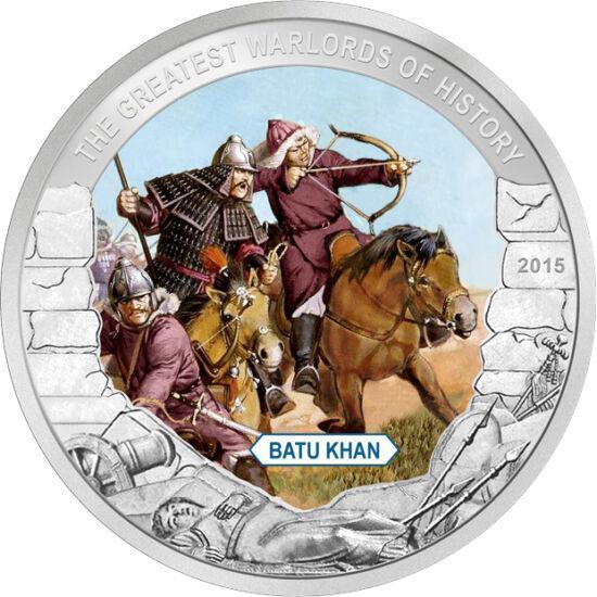 // 1 dollár, Palau, 2015 // - Batu kán az Arany Horda első kánja, a tatárjárás fővezére, Dzsingisz kán rangidős unokája volt. 1235-ben a nyugati világ ellen indított hadjárat fővezére lett. Lengyelországba 10000 fős sereget küldött, akik a legnicai csatáb