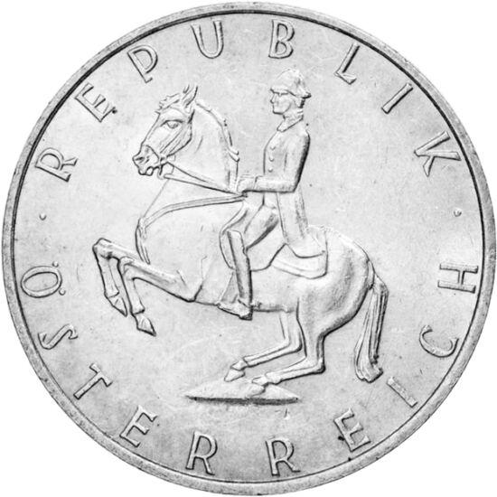 // 5 schilling, 640-es ezüst, Ausztria, 1960-1968 // - A bécsi spanyol lovas iskola a XVI. századtól őrzi a klasszikus lovaglás művészetét. Eredetileg a királyi család lovasképzéséért volt felelős, mára több ezer látogatót vonzó turisztikai látványosság.