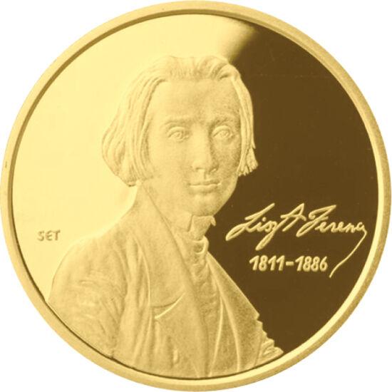 // 50000 forint, 986-os arany, Magyar Köztársaság, 2011 // - Liszt Ferenc születésének 200 éves évfordulóját ünnepelte egész Európa 2011-ben. Az MNB ennek tiszteletére nagy értékű arany emlékpénzt bocsátott ki, hasonlóan, mint 50 évvel korábban. Az érmén