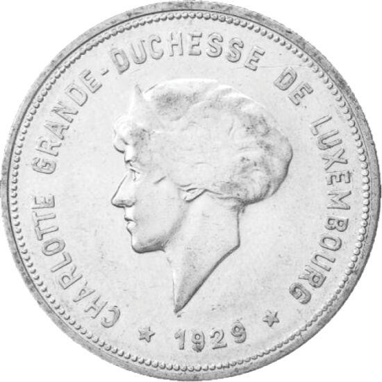 // 5 frank, 625-ös ezüst, Luxemburg, 1929 // - Sarolta az I. világháború után, 1919-ben vette át a luxemburgi trónt és a háború romjaiból hamar újjáépítette országát. Hogy uralmát legitimizálja népszavazást kezdeményezett, ahol a többség a monarchiára sza
