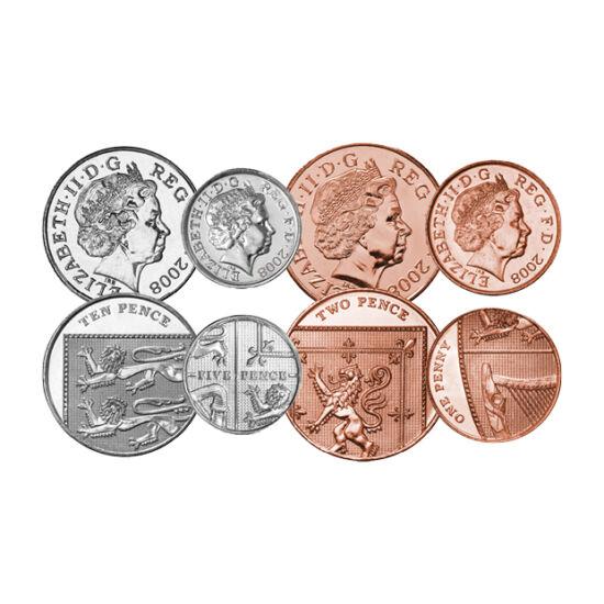 // 1, 2, 5, 10, 20, 50 cent, 1, 2 font, Nagy-Britannia, 2008-2016 // - A 2008-ban bevezetett új font forgalmi sor különleges hátlapokat kapott. A brit címer részletei láthatók a penny érméken. Zömében a címer széléről, látható is a címerpajzs széle, illet