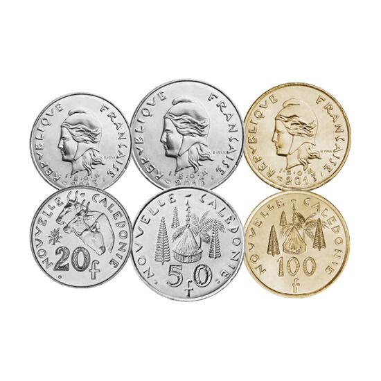 // 1, 2, 5, 10, 20, 50, 100 frank, Új-Kaledónia, 1972-2013 // - Új-Kaledónia lakossága 2018-ban népszavazás útján utasította el a teljes függetlenséget Franciaországtól. A terület jelentős autonómiát élvez, így önálló pénzt is kiad. Forgalmi érméin Minerv