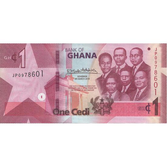 // 1 cedi, Gána, 2019 // - Afrika kivételesen gazdag országa Ghána. Ásványkincsekben gazdag, és jól működő mezőgazdasággal rendelkezik. Ősi fizetőeszközük a kagyló volt, ennek nevéből ered a mai pénzük neve, a cedi. Rendhagyó bankjegyükön nem egy történel