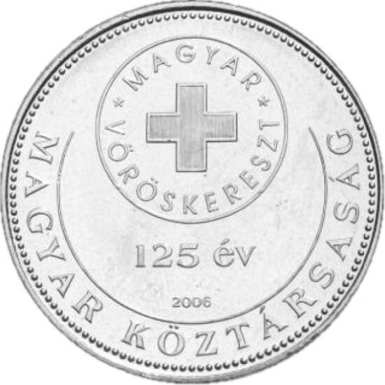 // 50 forint, Magyarország, 2006 // - 2006-ban a Magyar Vöröskereszt fennállásának 125. évfordulója alkalmából különleges 50 forintos érmét bocsátott ki az MNB. A jubileumi forgalmi érmékhez hasonlóan, ez is hamar eltűnt a pénzforgalomból, ma már nem lehe