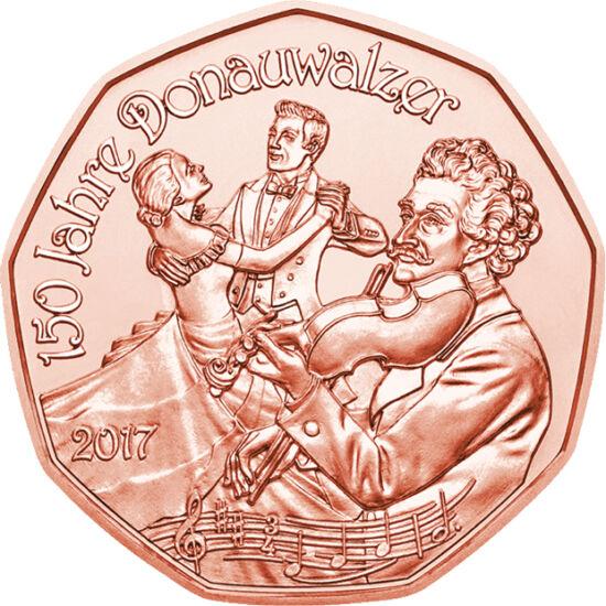 // 5 euró, Ausztria, 2017 // - Az Ausztria titkos himnusznak is számító Kék Duna keringő ifj. Johann Strauss 1866-ban komponált leghíresebb műve, mára csúcspontja a Bécsi Filharmonikusok újévi koncertjének, holott sosem része a hivatalos programnak, mindi