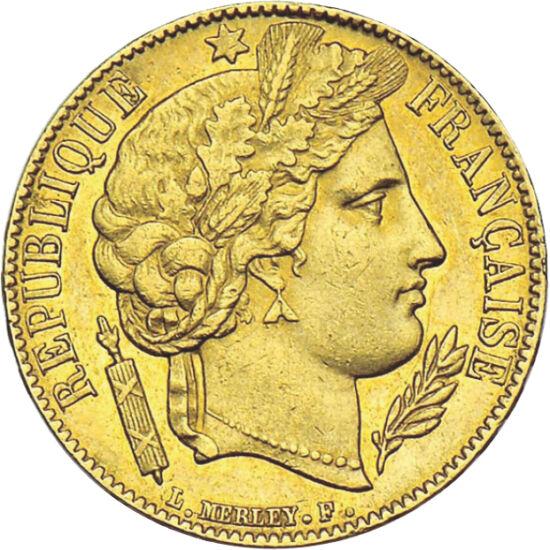 """// 20 frank, 900-as arany, Franciaország, 1849-1851 // - A francia II. Köztársaság idején, mely mindössze 5 évig állt fenn, az uralkodói portrét leggyakrabban Ceres istennő arcképe váltotta fel a pénzérméken. Így a """"Ceres"""" érmék a ritkábbak, mint más fran"""