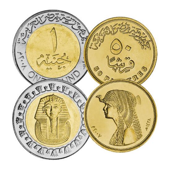 // 5, 10, 25, 50 piaszter, 1 font, Egyiptom, 2004-2008 // - Kleopátra kecsessége, Tutanhamon nagysága, az ókori egyiptomi kultúra gyöngyszemei köszönnek vissza az érmékről. Egyiptom, mint az ókori világ egyik első nagy civilizációja, és a mai afrikai veze