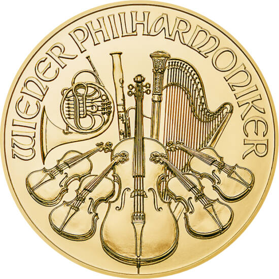 """// 25 euró, 999,9-es arany, Ausztria, 2020 // - Az Osztrák Állami Pénzverde igazi sikertermékei az arany """"Bécsi filharmonikusok"""" érmék. Az előlapon a zenekar hangszerei, a hátlapon a Bécsi Zeneegylet aranytermének orgonája látható. A """"négykilences"""" tiszta"""
