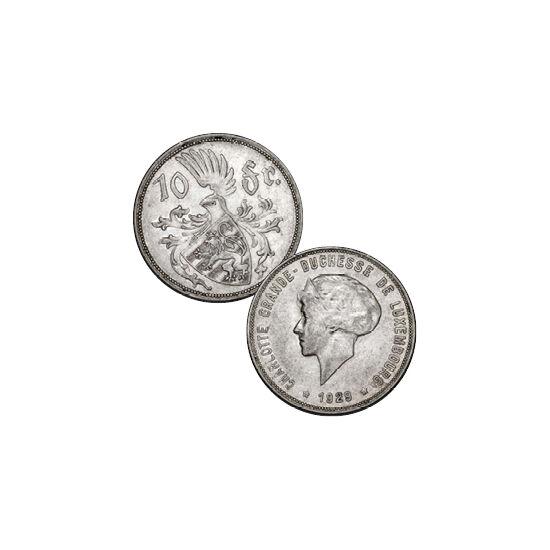 // 10 frank, 750-es ezüst, Luxemburg, 1929 // - Sarolta, Luxemburg nagyhercegnője erős egyéniség volt, aki hamar talpra állította a világháború romjaiból országát. Hat gyermek édesanyjaként a II. világháború alatt Londonba menekült családjával, és onnan i