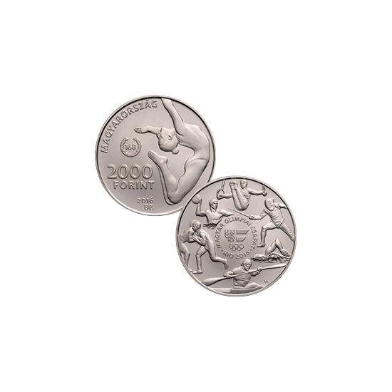 // 2000 forint, Magyarország, 2016 // - Az olimpiák kapcsán 1984 óta bocsát ki emlékpénzeket az MNB. 2016-ban először készül színesfémből olimpiai emlékérme. Az érmén mikroírás is található. Az emlékpénzen az addig szerzett olimpiai aranyérmek számát is m