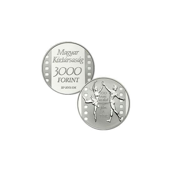 // 3000 forint, 925-ös ezüst, Magyar Köztársaság, 2001 // - 1901. április 30-án mutatták be az első magyar filmet, A táncz címmel. A filmtörténeti fordulópont 100 éves évfordulójáról emlékezett meg a Magyar Nemzeti Bank ezzel az ezüstpénzzel. Ez a múlt kü
