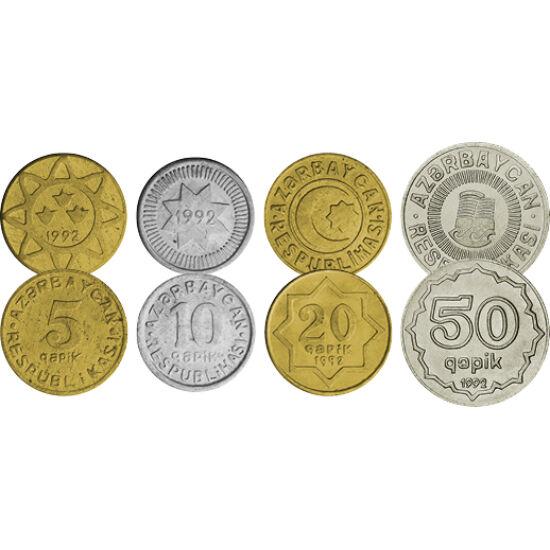 """// 5, 10, 20, 50 qapik, Azerbajdzsán, 1992-1994 // - Azerbajdzsán az ősi zoroasztriánus vallás és a modern kőolaj hazája. A pénzek motívumai is ezt tükrözik. Ezek az érmék """"a függetlenség pénzei"""", mivel a Szovjetuniótól való függetlenség után kerültek kib"""