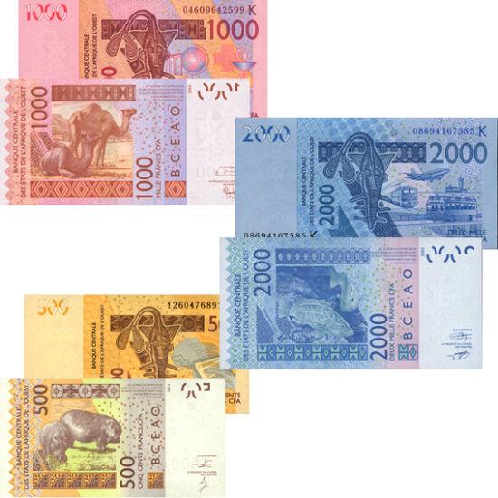 // 500, 1000, 2000 frank, Nyugat-Afrikai államok, 2004-2012 // - Nyolc afrikai francia gyarmat: Benin, Burkina Faso, Elefántcsontpart, Bissau-Guinea, Mali, Niger, Szenegál és Togo 1961-ben egy gazdasági közösségbe tömörülve közös pénzt vezettek be. Az Afr