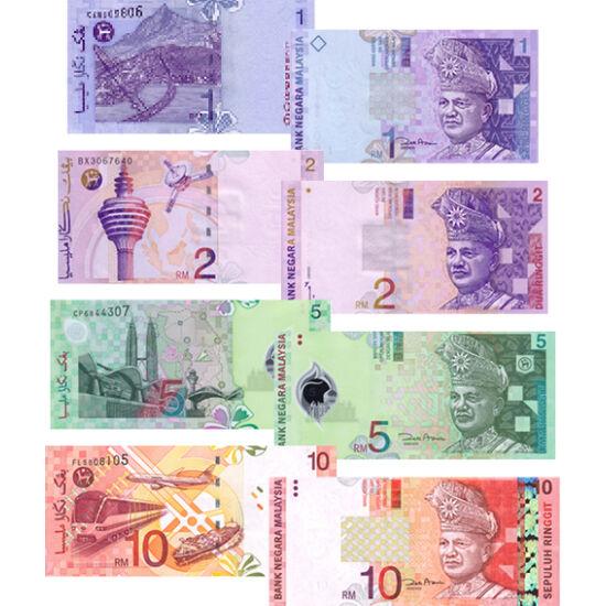 // 1, 2, 5, 10 ringgit, Malajzia, 1996-2004 // - Malajziát több évtizedes gazdasági fejlődés és politikai stabilitás tette a régió egyik legvirágzóbb országává. A sokszínű kultúrájú, hagyományú, vallású ország modern infrastruktúrával, fejlett földi és lé