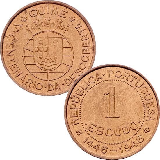// 1 escudo, Guinea-Bissau, 1946 // - 1446-ban fedezték fel a Zöldfoki-szigetek és Guinea-Bissau térségét, ennek 500. évfordulójára 1946-ban bocsátották ki ezt az érmét. A Kelet- afrikai régió gyöngyszeme, az Atlanti-óceán minden szépségével és káprázatos