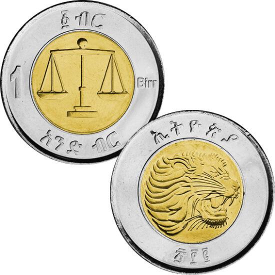 // 1 birr, Etiópia, 2010 // - Az alábbi bimetál érmét kibocsátó ország az elmúlt 200 évben vált függetlenné. Több országgal együtt elszántan küzdött az önállóságért és a szabadságért. Az érme a már elnyert szabadság jelképe, mivel az ország lerázta a gyar
