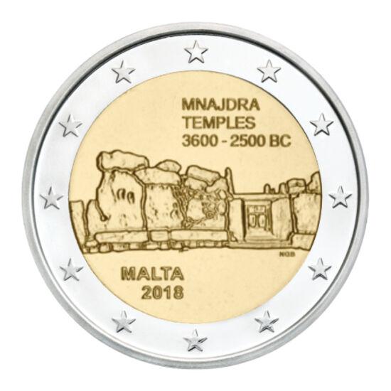 // 2 euró, Málta, 2018 // - Málta bővelkedik a kora ókori műemlékekben, melynek oka Egyiptom közelsége, és az ott élők hajózási tudása lehet. Az 5000 éves templomromok lassan eltűnnek, sok részletük már modern kori kiegészítés, restauráció. Ez már a másod