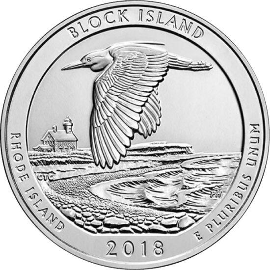 // 1/4 dollár, USA, 2018 // - Rhode Island államot óceánállamnak is hívják, mert az állam területének közel harmada az Atlanti-óceán vízfelülete. A természetvédelmi területté emelt Block-szigetén vándormadarak rezervátuma és számos nyaralóparadicsom talál